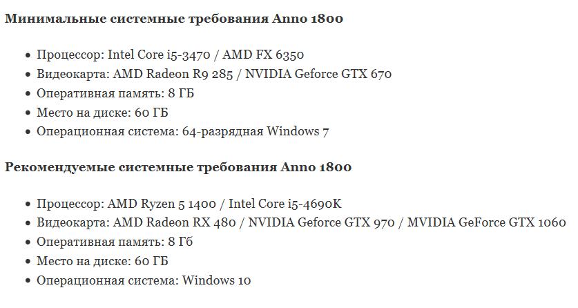anno 1800 системные требования